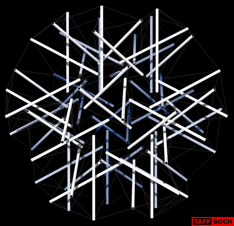 Bucky's 60-Strut Tensegrity Sphere by TaffGoch
