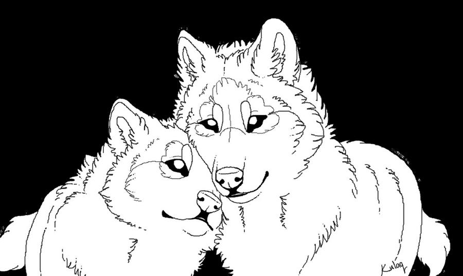 Wolf Lineart : Growling wolf lineart