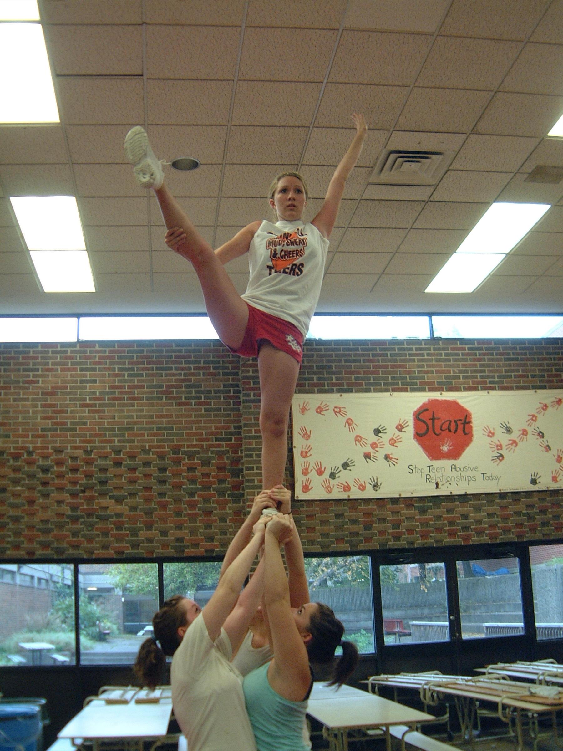 For cheerleaders show too much skin cheerleading heel stretch