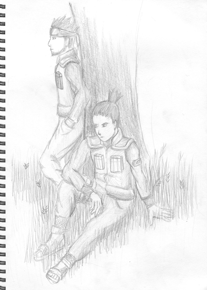 Shikamaru and Asuma by SmudgedPixelsArt