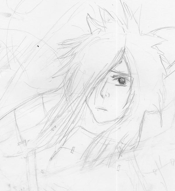 WIP: Madara Uchiha 1st sketch by SmudgedPixelsArt