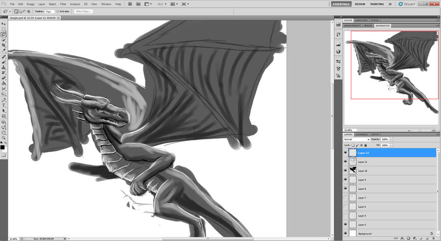 WIP greyscale dragin.... :D by SmudgedPixelsArt