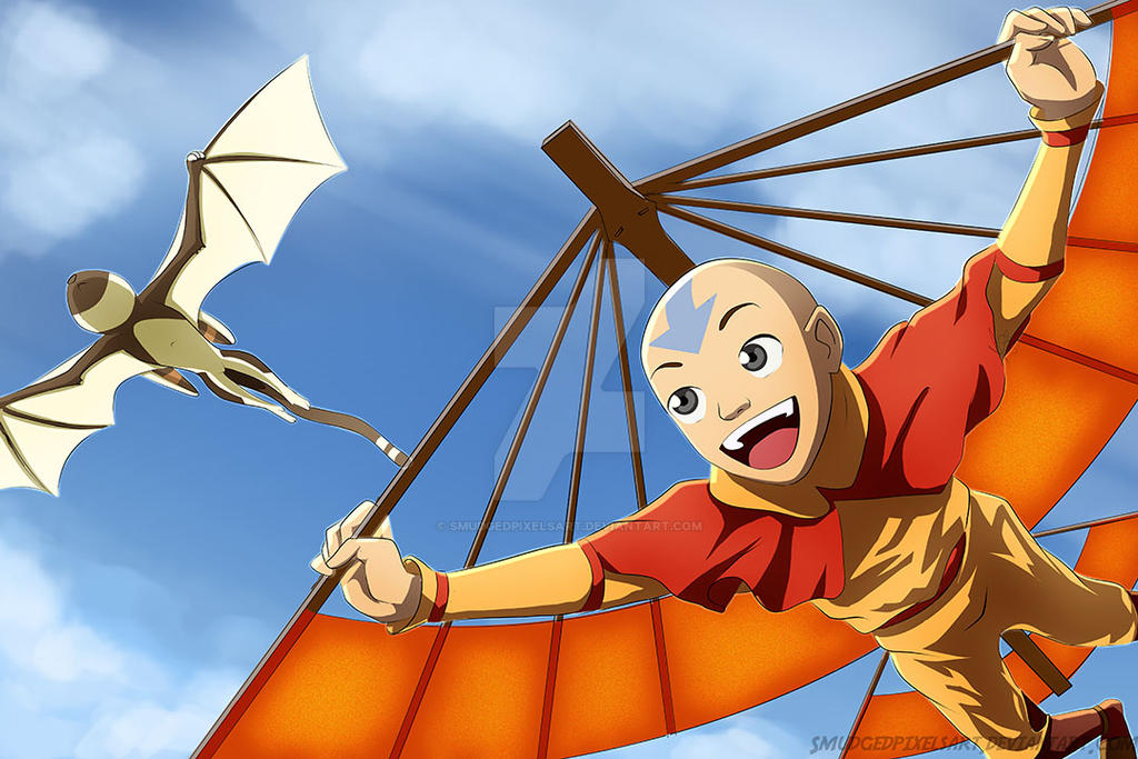 Aang and Momo by SmudgedPixelsArt