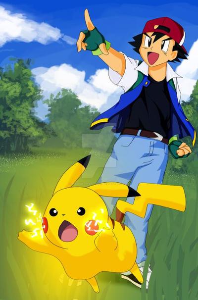Ash and Pikachu by SmudgedPixelsArt