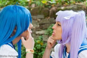Prrrr! :P , Konata and Kagami cosplay