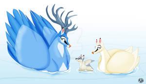 A Swan Deer Family
