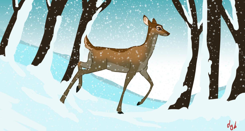 Winter Deer by dyb