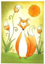 Fox watercolor doodle by dragonflywatercolors