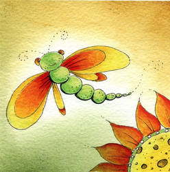 scarlet dragonfly by dragonflywatercolors