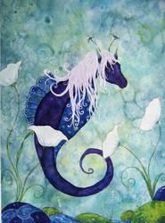 indigo Seahorse by dragonflywatercolors