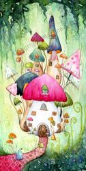 Mushroom Village by dragonflywatercolors
