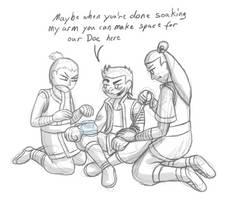 TMNT Avatar AU sketch - Leo's healing skills by MetaLatias5