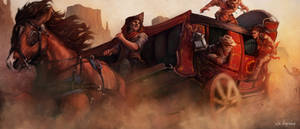 Western Film Carriage Scene by sk8rnik