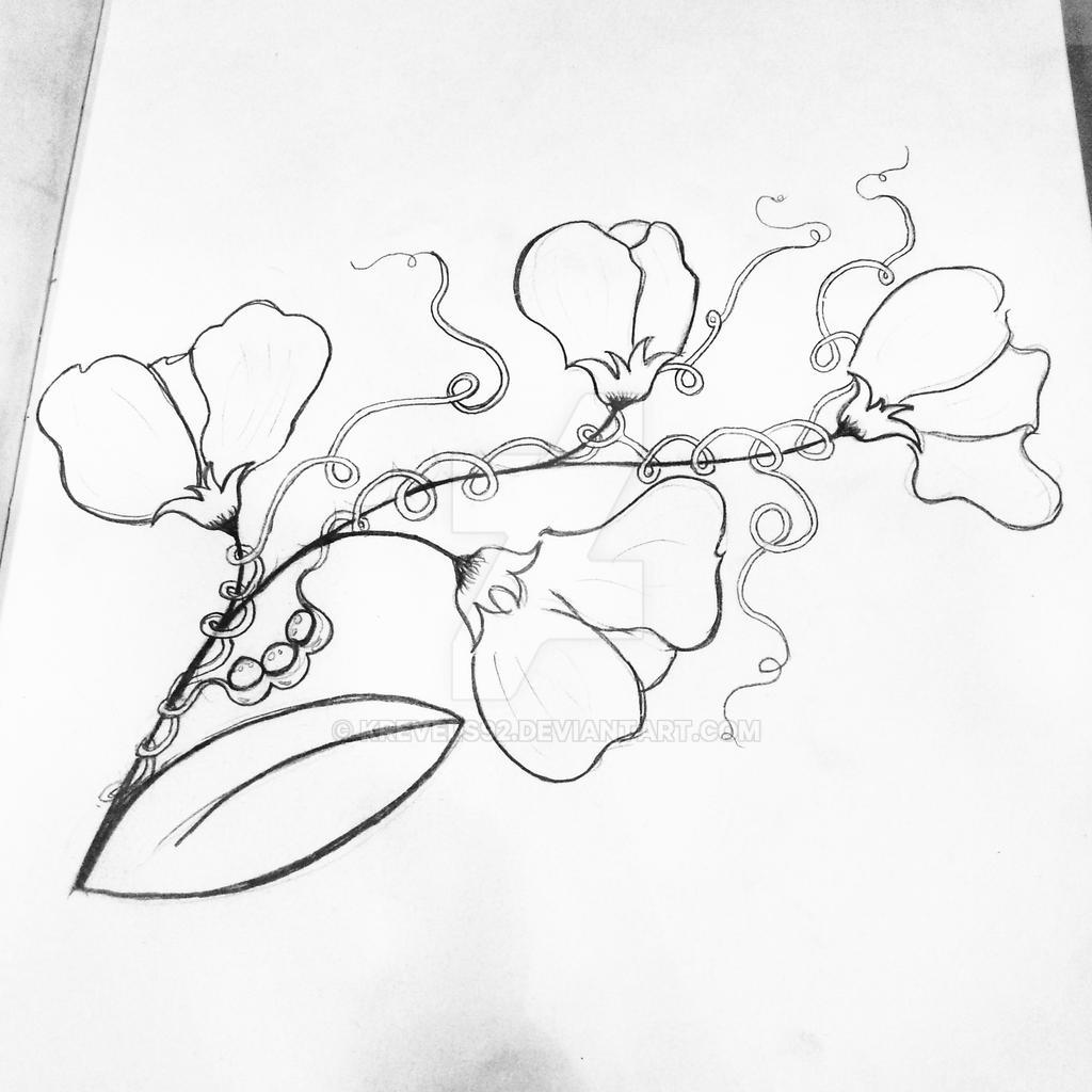 commissioned sweet pea flower tattoo design by krevels92 on deviantart. Black Bedroom Furniture Sets. Home Design Ideas