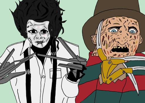 Edward Scissor Hands and Freddy Krueger