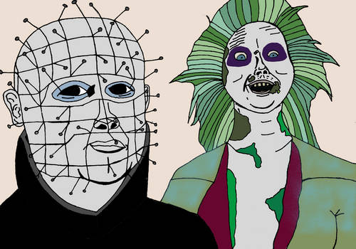 Beetle juice and Pinhead from Hellraiser