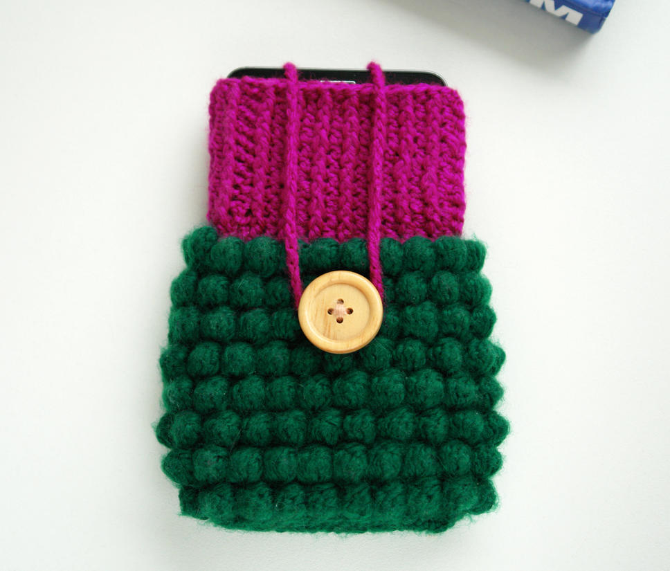 Crocheted Phone Case (bobble stitch + fpdc + dc) by tinyAlchemy on ...