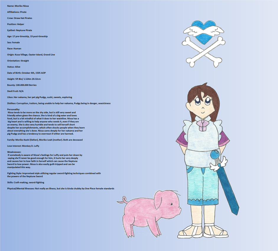OP OC Tournament Character Sheet: Moriko Nissa by the-ocean-sings