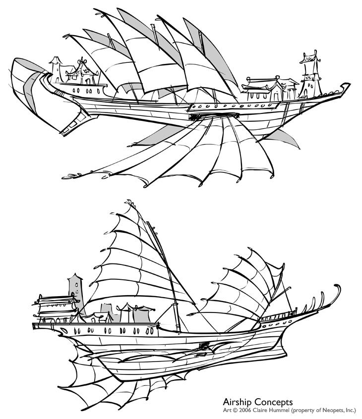 Shenkuu Airship Concepts by shoomlah