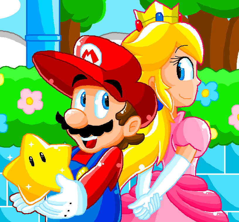 Pixel Art- Mario And Peach By LuigiYoshi2210 On DeviantArt