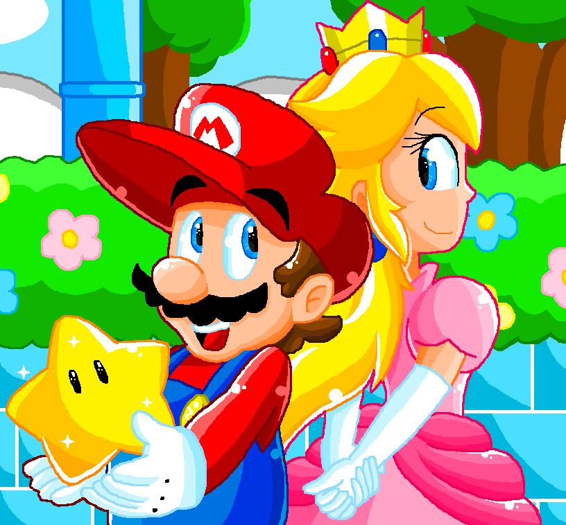 Pixel Art Mario And Peach By Luigiyoshi2210 On Deviantart