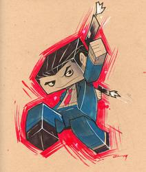 D+D: Man in Blue-Cubee Edition by E-Mann