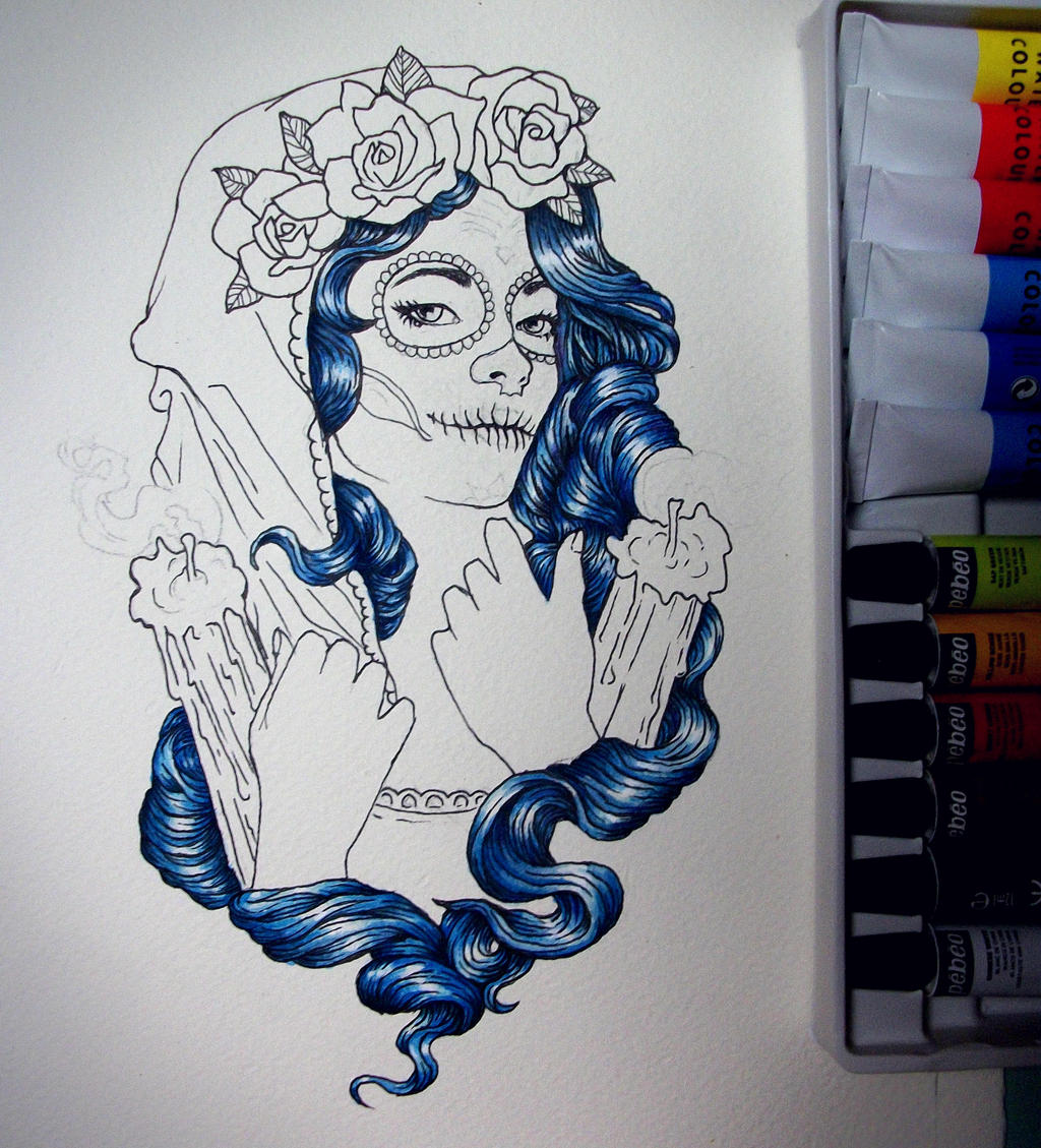 Catrina tattoo wip by andresarte