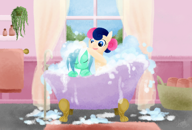 lyra_and_bon_bon___bubble_bath_by_cherry