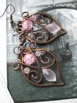 Wire Wrapped Copper Leaf Filigree Earrings