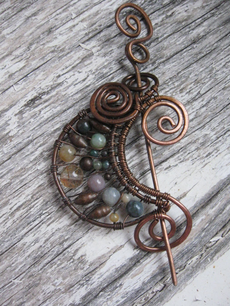 Crescent Moon Wire Wrapped Brooch by Lirimaer86 on DeviantArt