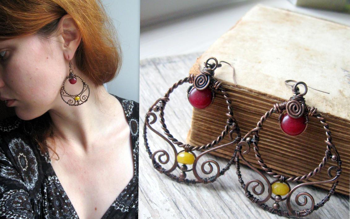 Wire Wrapped Filigree earrings - Copper Hoops by Lirimaer86 on ...