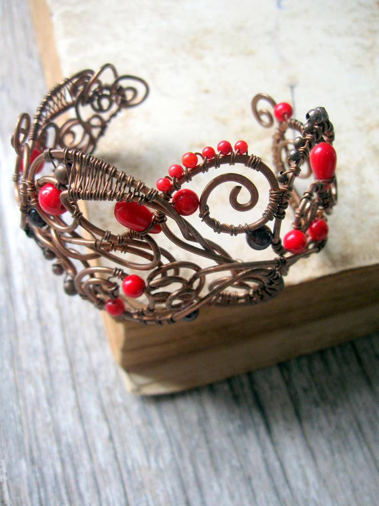 wire wrapped bracelet copper cuff by Lirimaer86