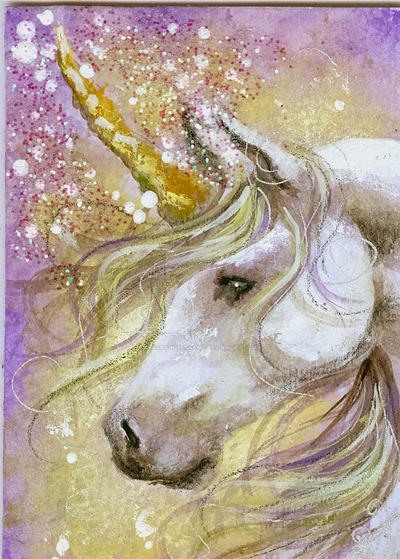 Lavender Dream - Unicorn ACEO by BlackAngel-Diana