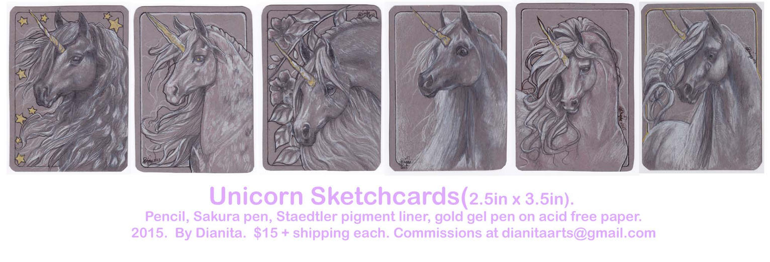 Unicorn Sketch card commissions. by BlackAngel-Diana