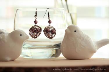 Bird nest earrings - Handmade wire wrap jewelry by BlackAngel-Diana