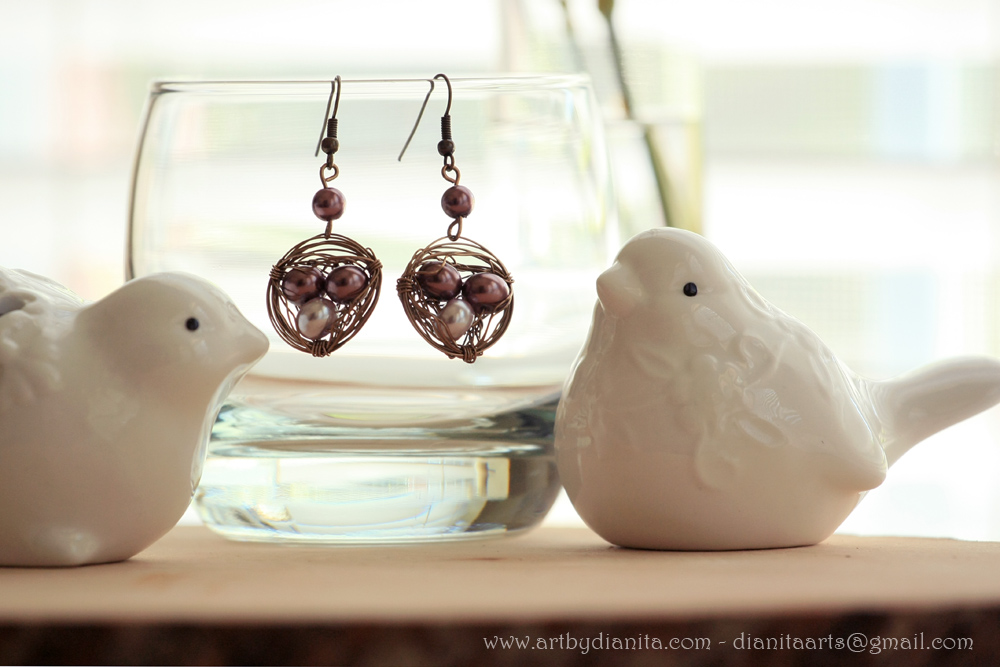 Bird nest earrings - Handmade wire wrap jewelry by BlackAngel-Diana