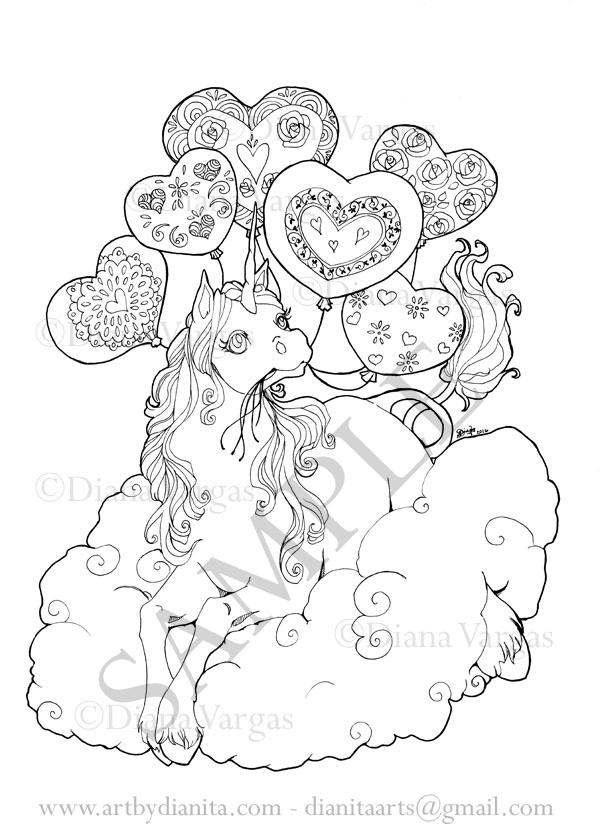 Unicorn with balloons coloring page by BlackAngel-Diana