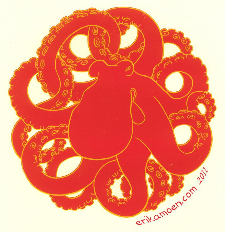 Sacred Octopus Silkscreen by erikamoen