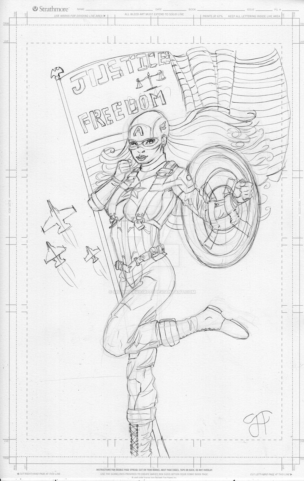 American Dream Pin-Up: Pencils by IronWarrior777