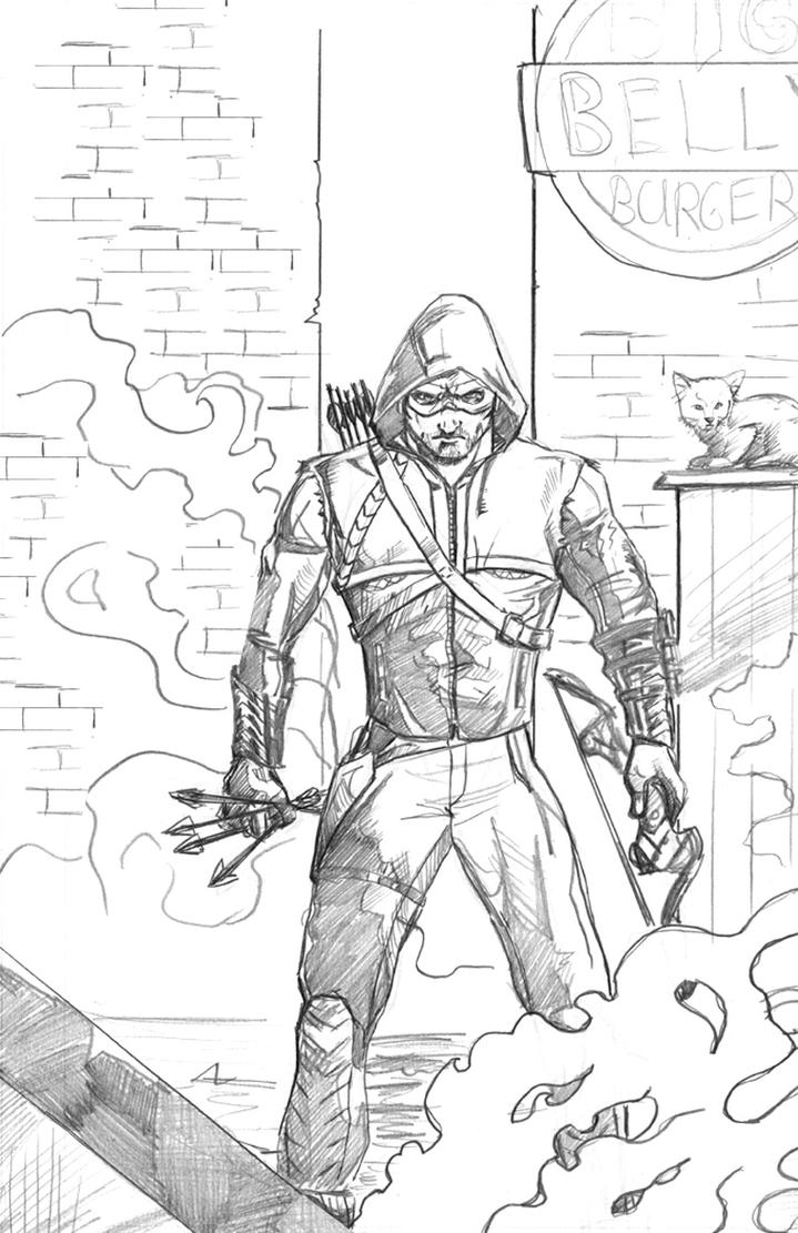 The Arrow: Defender of Big Belly Burger - Pencils by IronWarrior777