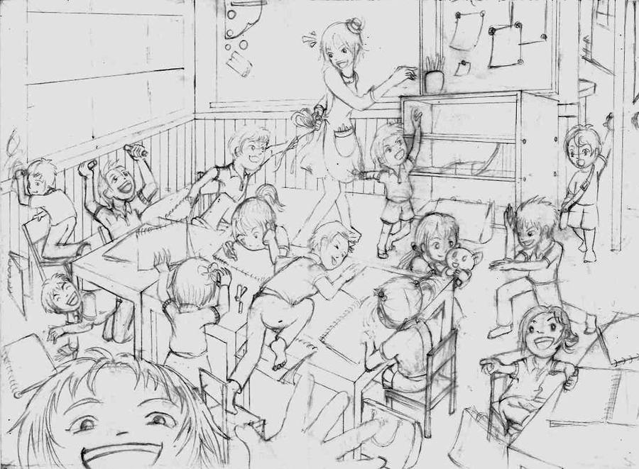 Classroom Design Sketch ~ Wip classroom sketch by skopion on deviantart