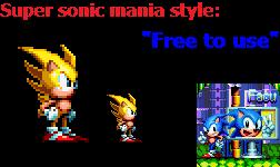 Super Sonic Mania Style Sprite by facundogomez