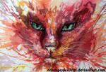 Watercolor - Cat face - 2