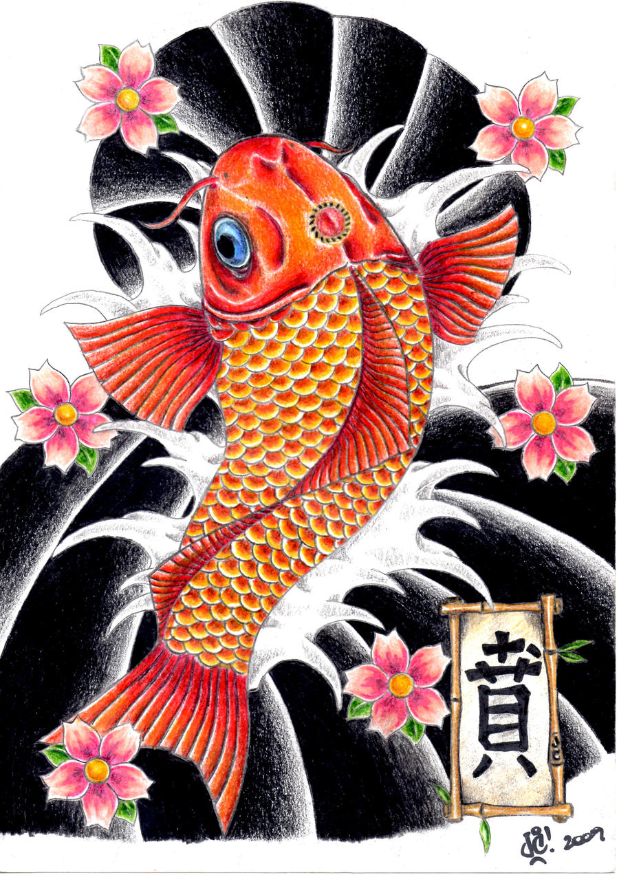 Tattoo art koi fish 2 by jcbernhard on deviantart for Koi fish framed prints
