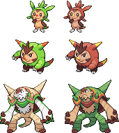 Chespin - Quilladin - Chesnaught Sprites by zerudez