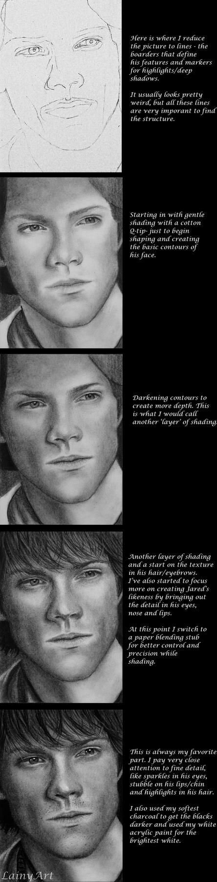 Charcoal Drawing WIP Tutorial by secrets-of-the-pen
