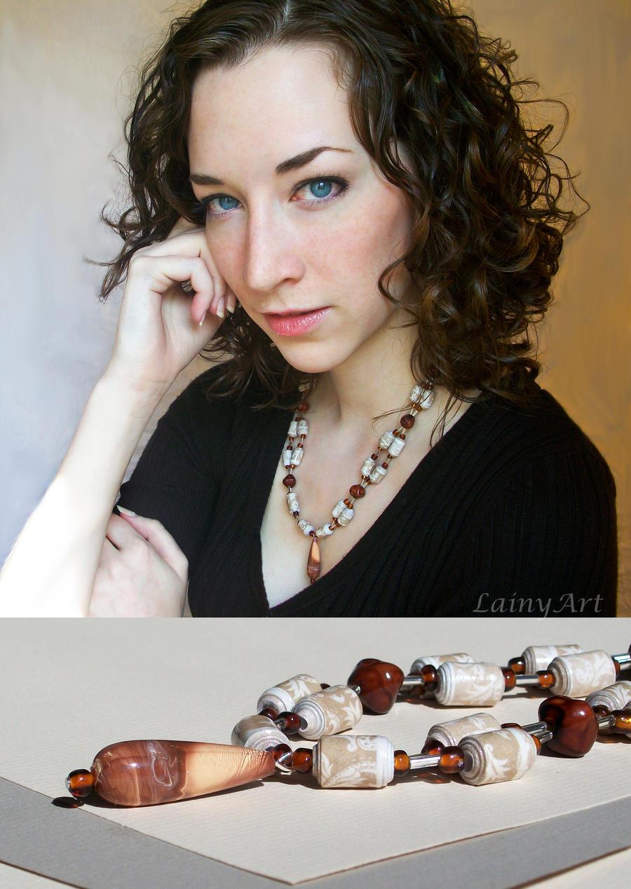 Cream lace Pendant - Paper Bead Necklace by secrets-of-the-pen