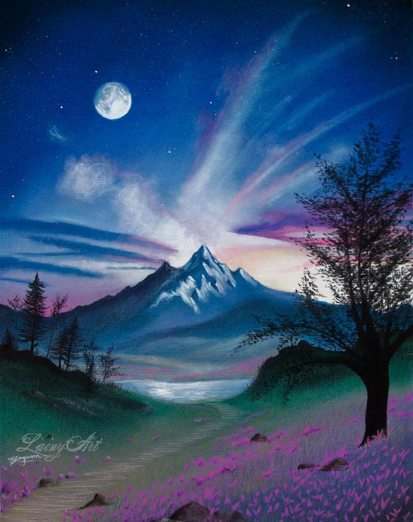 Nothing but Blue Skies - Pastel Landscape by secrets-of-the-pen