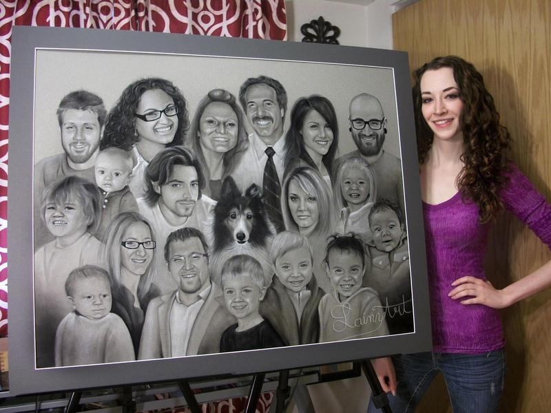 Shyla's Super Family Portrait- Charcoal Commission by secrets-of-the-pen
