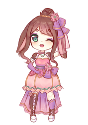 French lop rabbit and pink poinsettia by Shiroinya